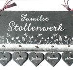 Door sign Slate flower Meadow White/Silver