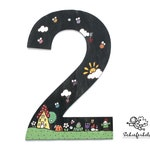 Slate House number 25 cm XL hand painted individually personalizable