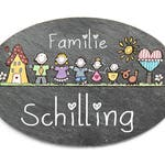 Slate Door sign Oval name plate, family sign with desired name + desired figures hand painted individually personalizable