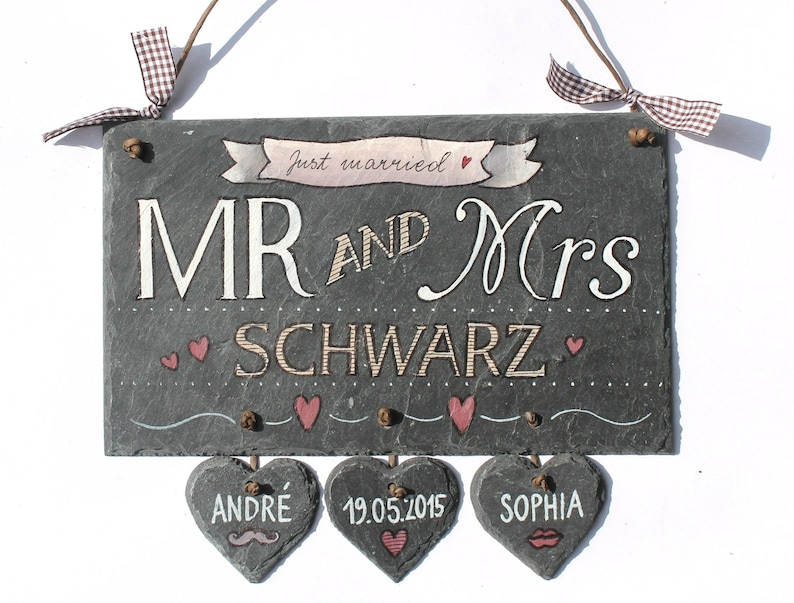 Wedding Gift Door Sign Mr and Mrs with 3-5 slate hearts hand image 0