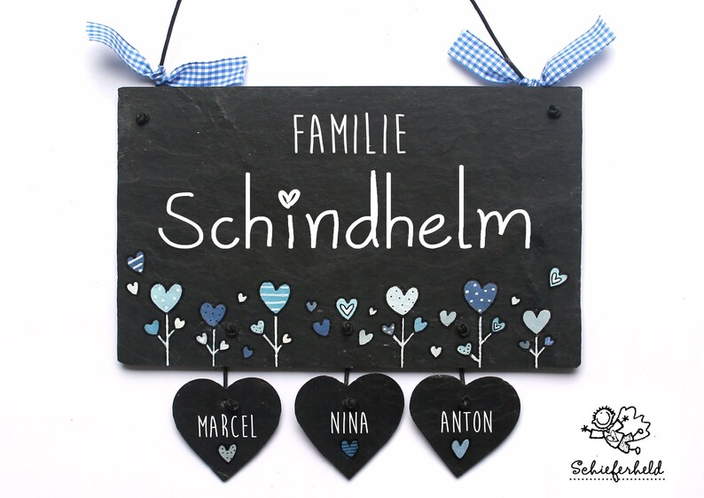 Door sign family slate hearts blue pastel hand painted image 0