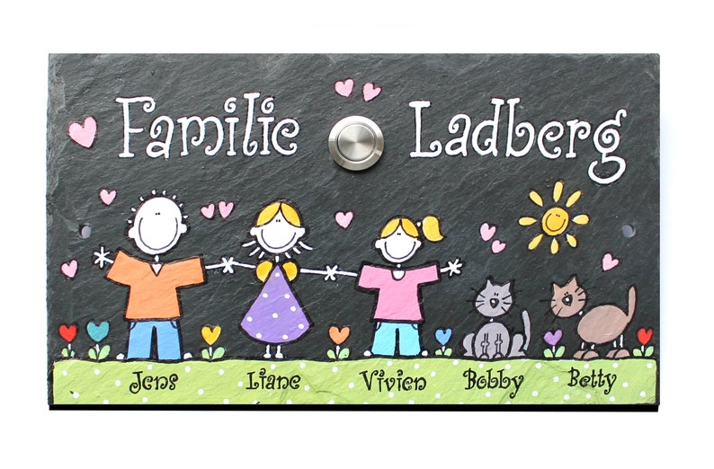 Bell name tag slate handpainted customizable image 0