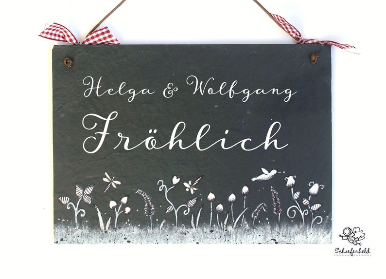 Door sign family personalized flower meadow slate image 0