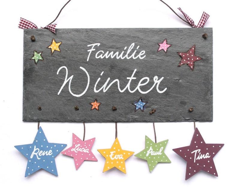 personalisiertes Türschild Familie mit Sternanhänger image 0