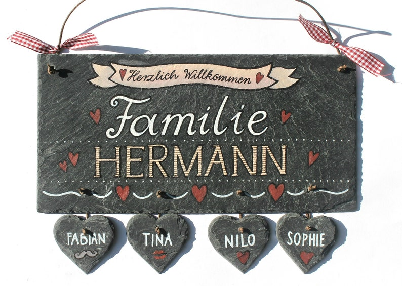 personalized door sign family with heart pendant image 0
