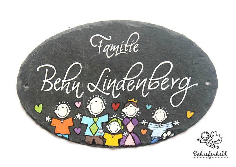 personalized door sign family oval slate image 0