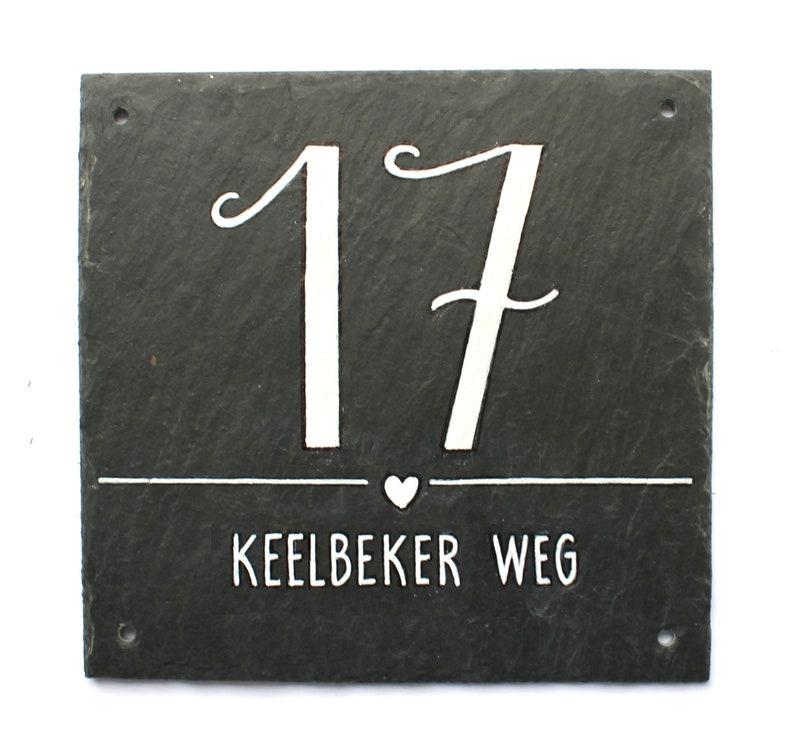 Slate house number Typo handpainted image 0