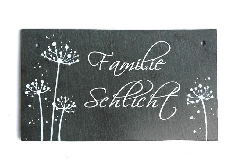 personalized door sign family pusteblume slate image 0