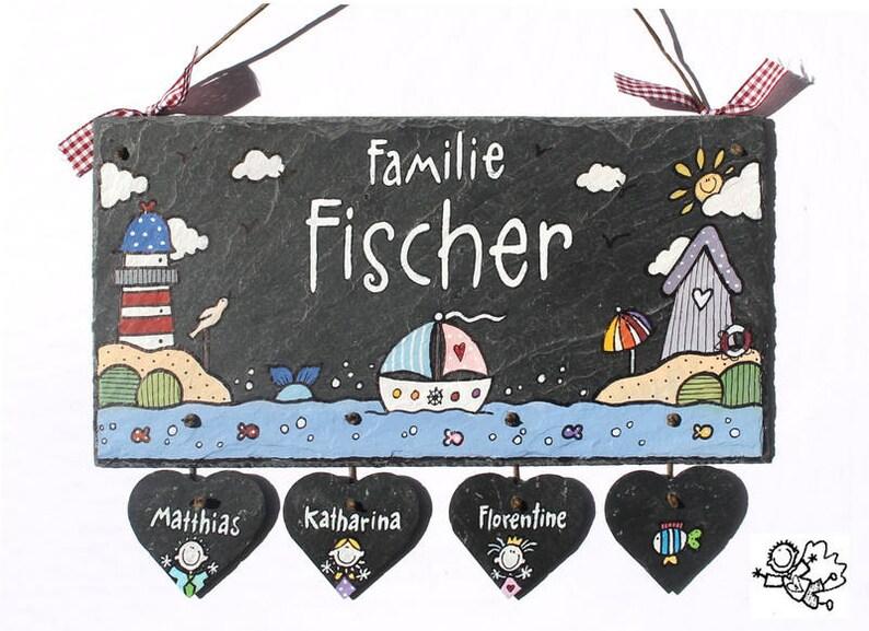 personalisiertes Türschild Familie Schiefer maritim mit image 0