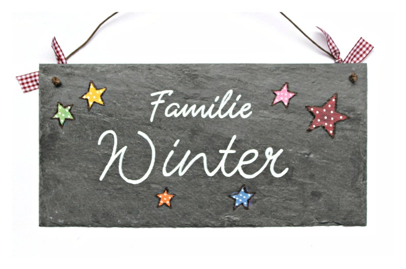 Door sign family personalized slate stars image 0