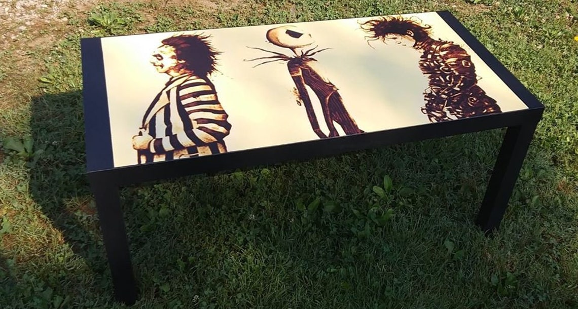 Custom Made Tim Burton Inspired Coffee Table Haunted House  Antiqued Look Halloween Decor Scissorhands Beetlejuice Jack Skellington