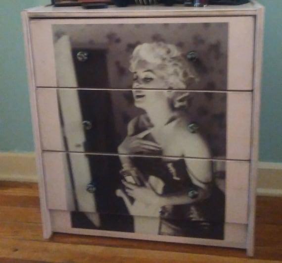 Sugar Coated New Custom Made Marilyn Monroe James Dean 3 Drawer Chest Nightstand Bedroom Living Room Foyer Dorm Room Decor Storage Glam