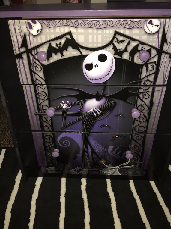 Sugar Coated Custom Made 3 Drawer Chest Nightstand Nightmare Before Christmas Jack Skellington The Pumpkin King Furniture Art