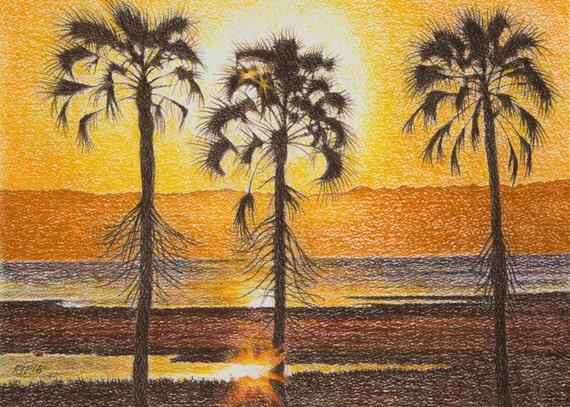 Sunset Paintings Art Original Palm Trees