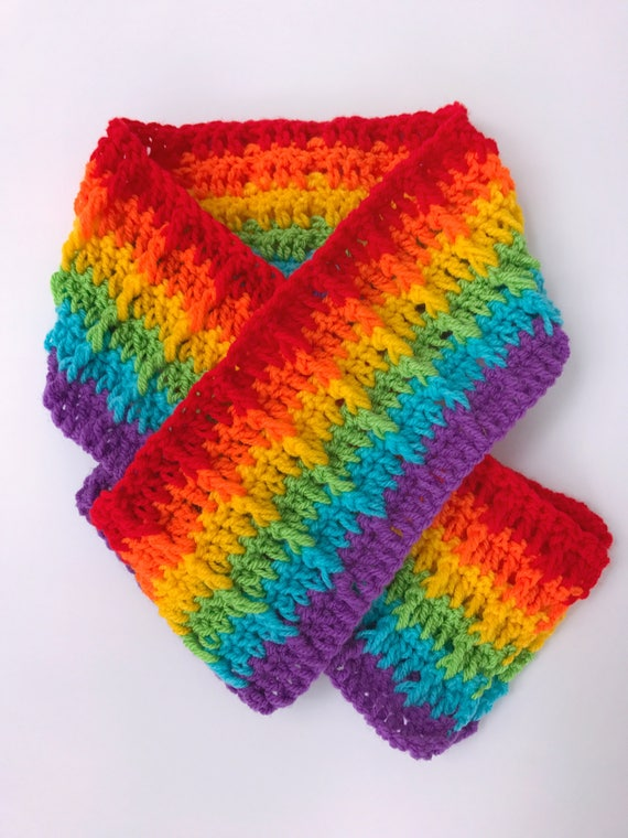 Häkeln Sie Regenbogen Schal Regenbogen-Schal LGBT Pride | Etsy