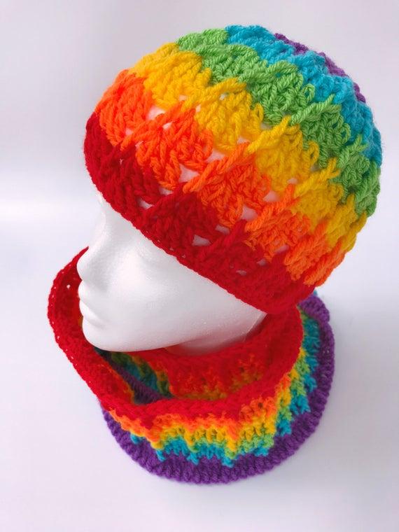 Häkeln Sie Regenbogen Mütze Regenbogen-Hut LGBT Pride Hut | Etsy