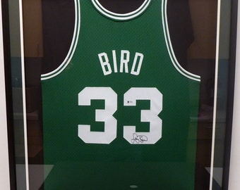 watch c69d7 4ee76 Larry Bird Autographed Signed Framed Boston Celtics M N Jersey BECKETT