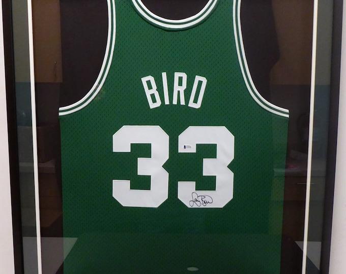 Larry Bird Autographed Signed Framed Boston Celtics M&N Jersey BECKETT