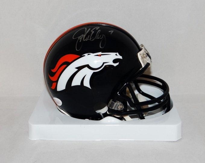 John Elway Autographed Signed Denver Broncos Mini Helmet JSA