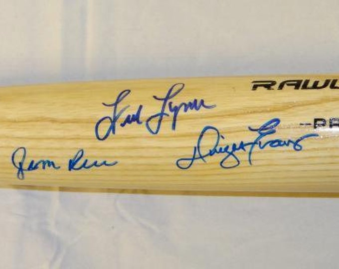 Jim Rice, Fred Lynn, & Dwight Evans Boston Red Sox Autographed Signed Rawlings Baseball Bat JSA