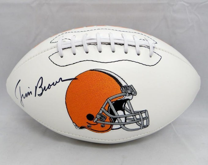 Jim Brown Autographed Signed Cleveland Browns Logo Football PSA
