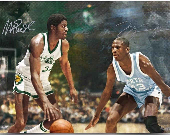 Michael Jordan & Magic Johnson Dual Autographed Signed 16x24 Photo UPPER DECK