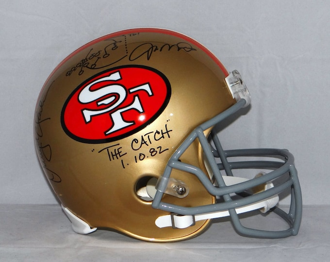 Joe Montana and Dwight Clark Autographed Signed San Francisco 49ers Full Size Helmet JSA