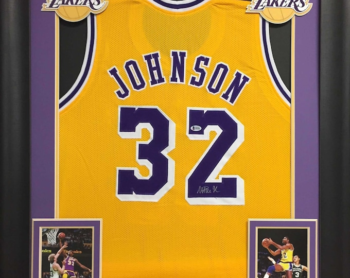 Magic Johnson Autographed Signed Framed Lakers Jersey BECKETT