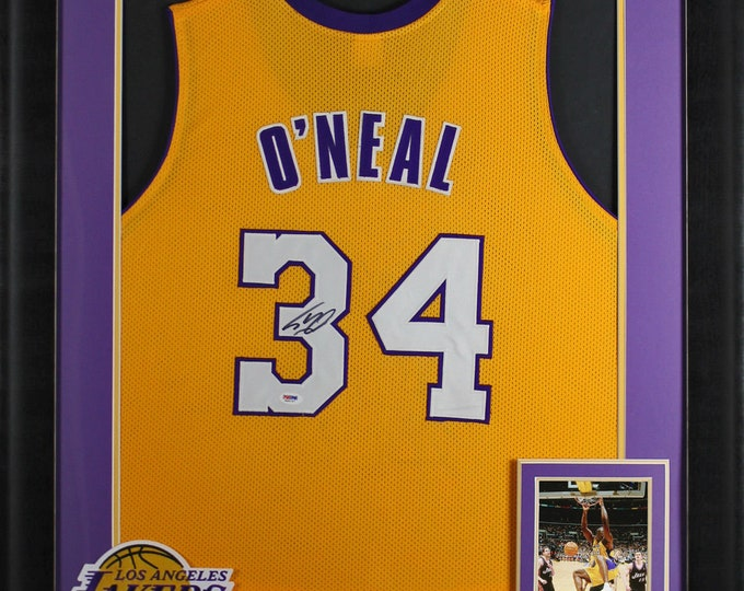 Shaquille O'Neal Autographed Signed Framed Lakers Jersey PSA