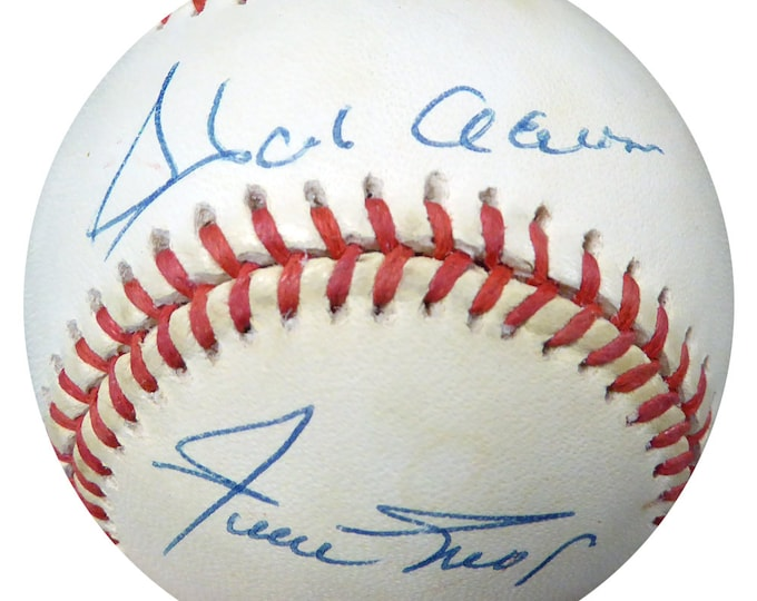 Hank Aaron & Willie Mays Braves Giants Autographed Signed Baseball PSA