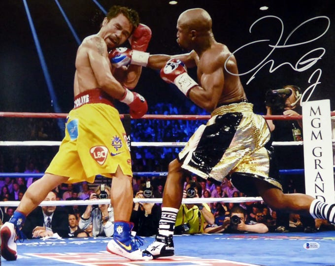 Floyd Mayweather Jr. Autographed Signed 16x20 Photo VS Manny Pacquiao BECKETT