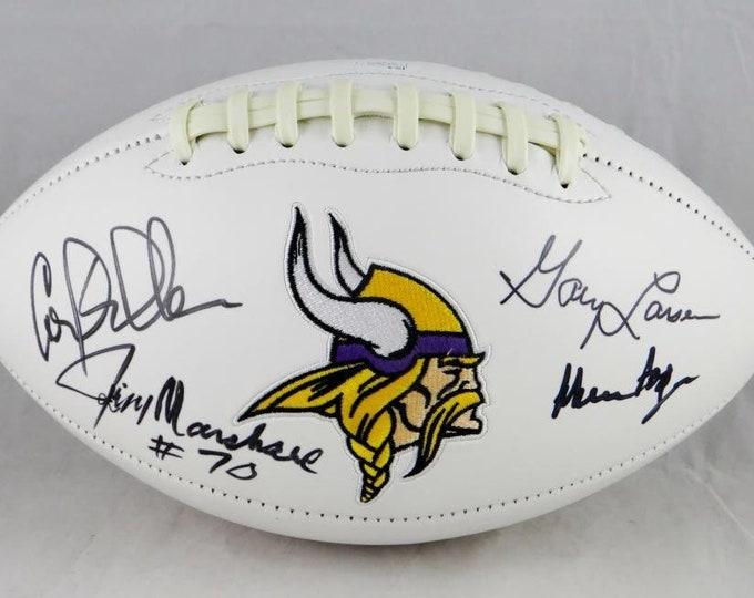 Purple People Eaters Autographed Signed Minnesota Vikings Logo Football JSA