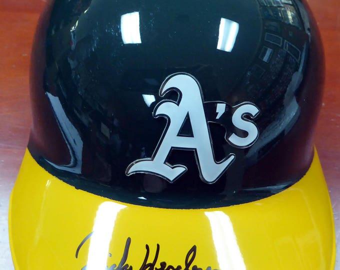 Rickey Henderson Autographed Signed Oakland A's Batting Helmet STEINER
