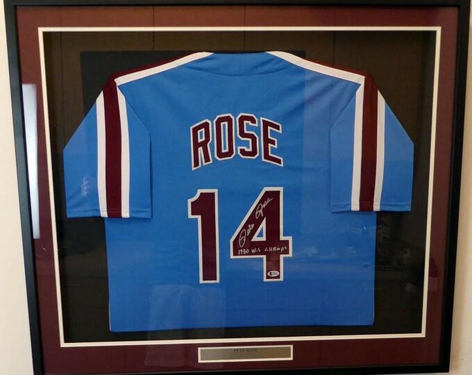 Pete Rose Autographed Signed Framed Philadelphia Phillies Jersey BECKETT