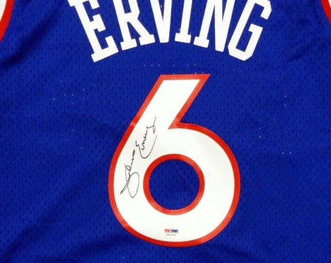 Julius Erving Dr.J  Autographed Signed Philadelphia Sixers Jersey PSA