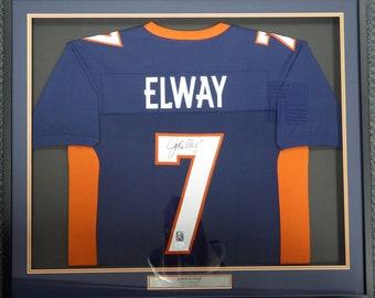 John Elway Autographed Signed Framed Denver Broncos Jersey JSA 4b08b47c7