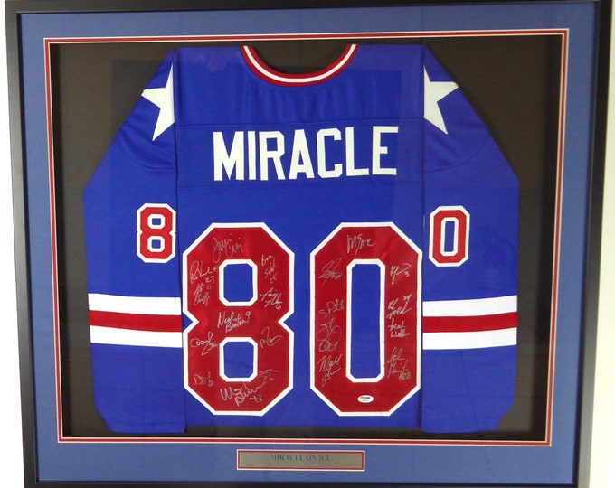 1980 Miracle On Ice Team USA 20 Signatures Autographed Signed Framed Jersey PSA