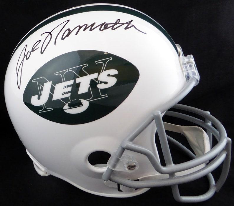 the latest 060d2 1bd64 Joe Namath Autographed Signed New York Jets Throwback Helmet BECKETT