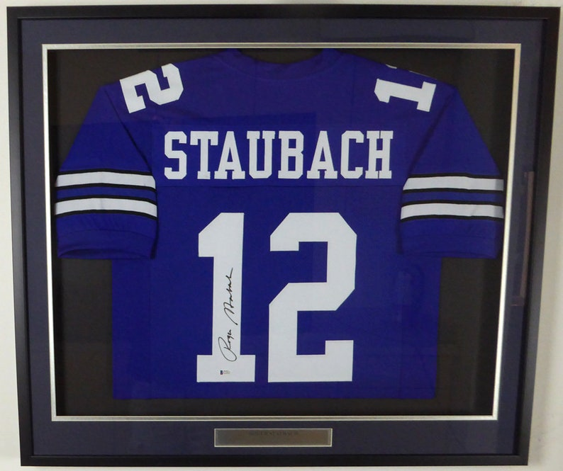6689a79dd24 Roger Staubach Autographed Signed Framed Dallas Cowboys Jersey | Etsy