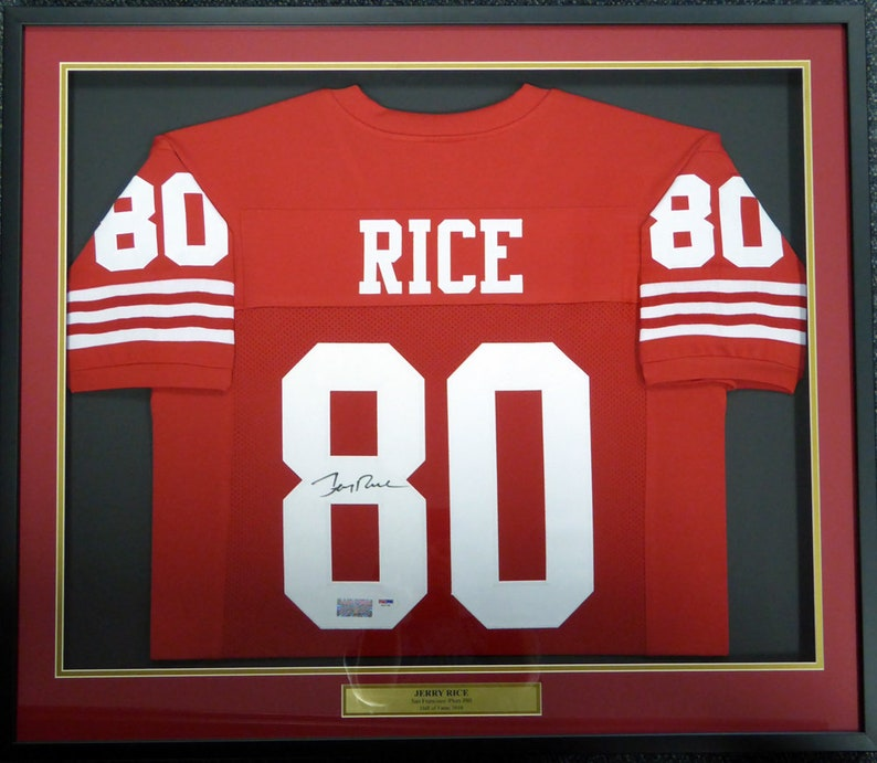 san francisco 4fbf9 394e0 Jerry Rice Autographed Signed Framed San Francisco 49ers Jersey PSA