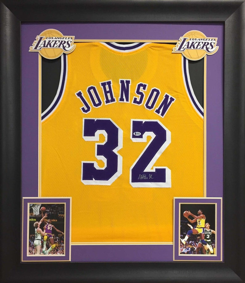 online store 065a1 294b7 Magic Johnson Autographed Signed Framed Lakers Jersey BECKETT