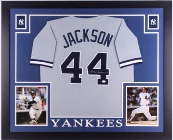 sports shoes 9f9f1 77384 Reggie Jackson Autographed Signed Framed New York Yankees Jersey JSA