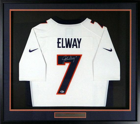 another chance cd59c 2115d John Elway Autographed Signed Framed Denver Broncos Nike Jersey BECKETT