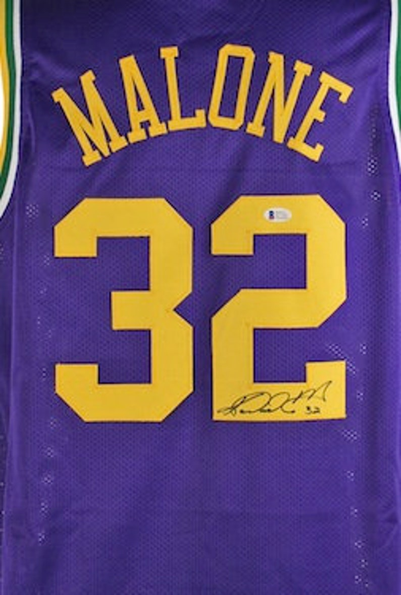 free shipping 15dbb 16d57 Karl Malone Autographed Signed Utah Jazz Jersey BECKETT