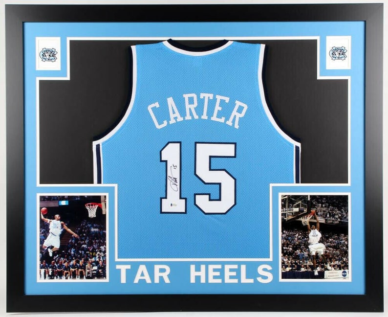 new concept ab43e 89d49 Vince Carter Autographed Signed North Carolina Tar Heels Framed Jersey  BECKETT