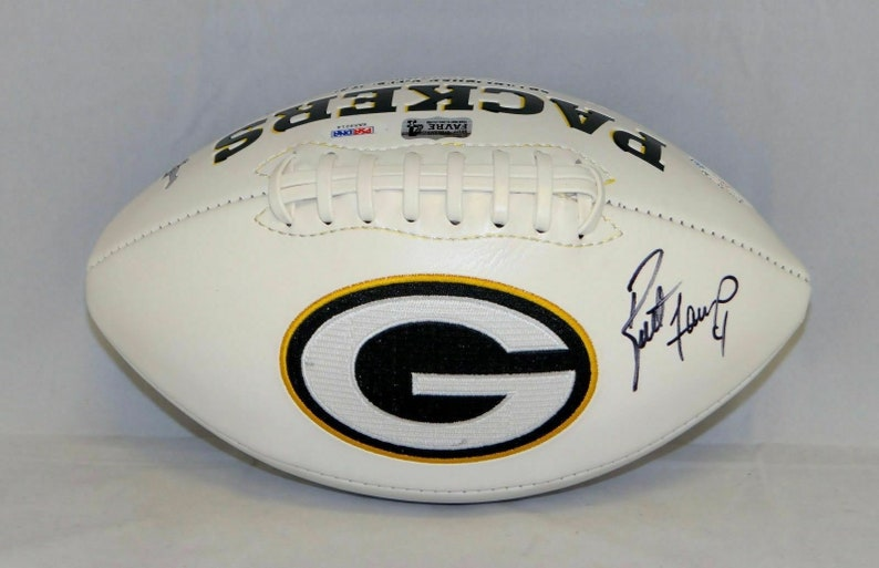 size 40 c6f0b 829f6 Brett Favre Autographed Signed Green Bay Packers Logo Football PSA