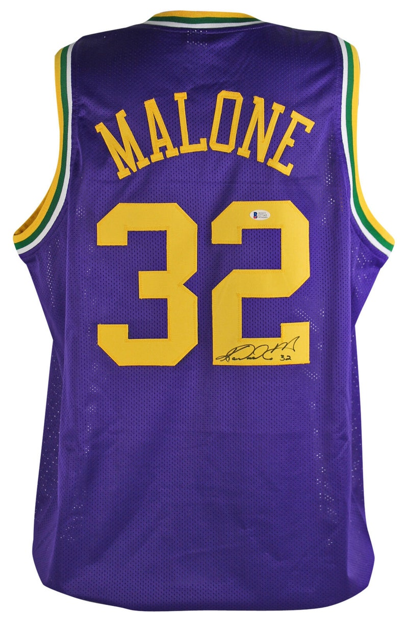 free shipping c870a 6bd32 Karl Malone Autographed Signed Utah Jazz Jersey BECKETT