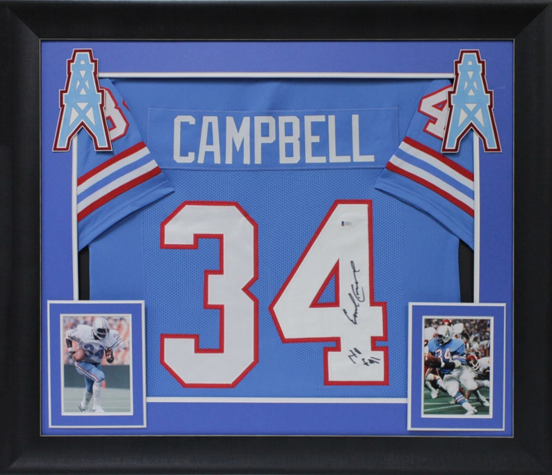 reputable site c03b9 e8f71 Earl Campbell Autographed Signed Framed Houston Oilers Jersey BECKETT