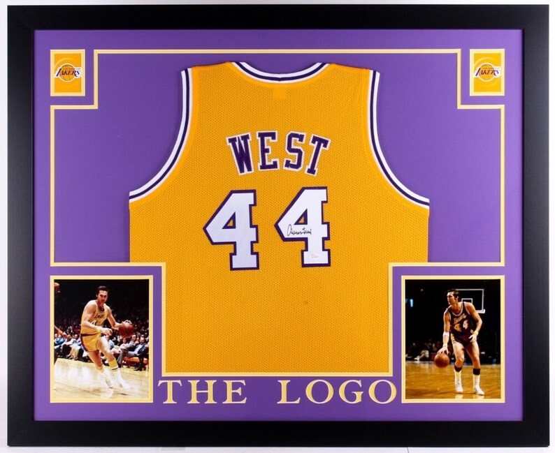 new style c39b6 c911c Jerry West Autographed Signed Los Angeles Lakers Framed Jersey JSA