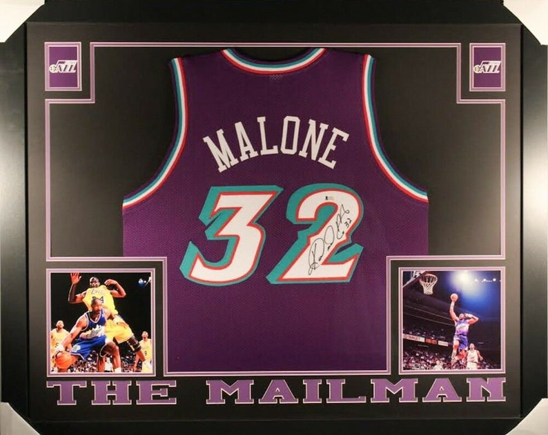 official photos 37590 1a180 Karl Malone Autographed Signed Framed Utah Jazz Jersey BECKETT